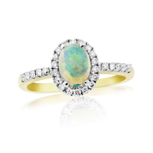 Oval Cluster Opal And Diamond Yellow Gold Ring